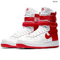 Мужские кроссовки в стиле Nike SF Air Force 1, натуральная кожа, нейлон, полиуретан(прошитые), белые с красным 41 (26 см)