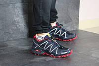 Мужские кроссовки в стиле Salomon Speedcross 3, кожа, сетка, пена, синие с красным 41 (26 см)