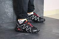 Мужские кроссовки в стиле Salomon Speedcross 3, кожа, сетка, пена, черные с белым 41 (26 см)