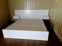 """Белая двуспальная кровать """"Токио"""" из натурального дерева"""