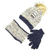 Шапка снуд перчатки Suve для 7-12 лет Чёрно-коричневый TUR 51231 brown-blue, КОД: 152776