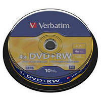 Диск (c10) DVD+RW VERBATIM /4.7GB/4x/10pcs CakeBox 10 шт silver (43488)