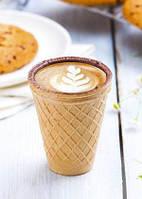 Вафельный стаканчик для кофе, с шоколадной глазурью