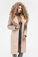 Зимнее женское пальто шерстяное с утеплителем беж PL-8815-10