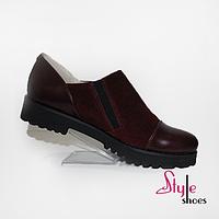 Туфли женские замшевые бордовые