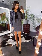Темно-серый вельветовый комплект из юбки и куртки на кнопках