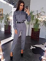 Комплект: Рубашка в крупными карманами и брюки с завышенной талией серого цвета