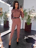 Комплект: Рубашка в крупными карманами и брюки с завышенной талией коричневого цвета