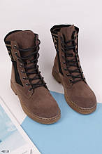 Женские осенние ботинки коричневые эко-замша под нубук