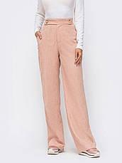 Стильные брюки прямого кроя с высокой посадкой из плотного вельвета коричневі розмір 44 46 48, фото 2