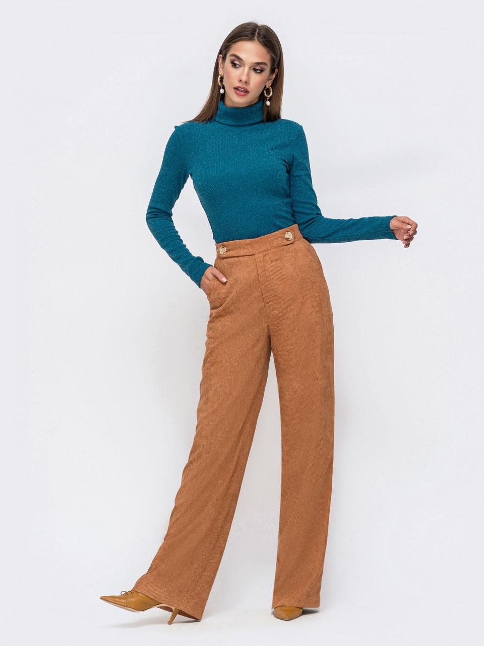 Стильные брюки прямого кроя с высокой посадкой из плотного вельвета коричневі розмір 44 46 48