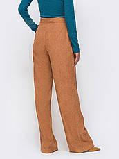 Стильные брюки прямого кроя с высокой посадкой из плотного вельвета коричневі розмір 44 46 48, фото 3