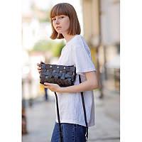 Кожаная плетеная женская сумка Пазл S черная Krast
