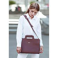 Женская кожаная сумка для ноутбука и документов бордовая