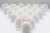 Роза белая из фоамирана (латекса) 4,5 см 10 шт/уп
