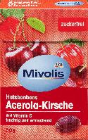 Леденцы без сахара Mivolis Halsbonbons Acerola-Kirsche, 50 гр.(16шт), фото 1