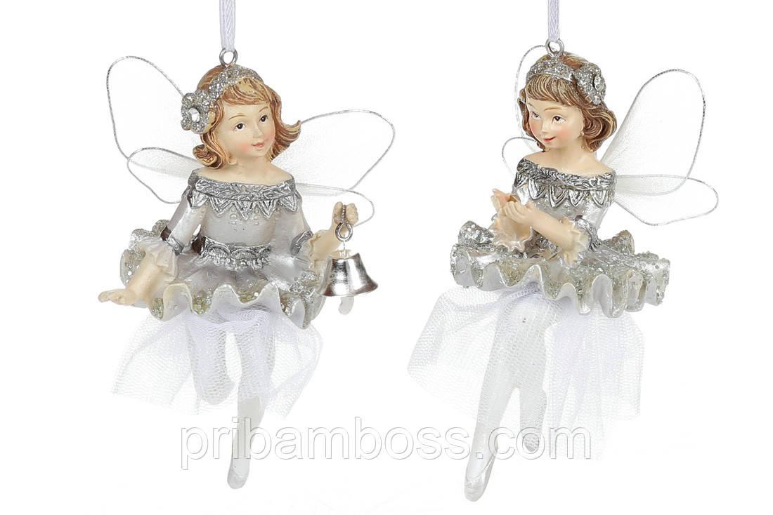 Новогоднее украшение балерина, 2 шт, цвет - серебро, 11см