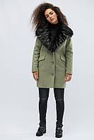 Зимнее пальто с мехом стильное теплое нефрит LS-8760-12