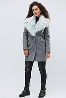 Зимнее пальто с мехом стильное теплое серое LS-8760-4