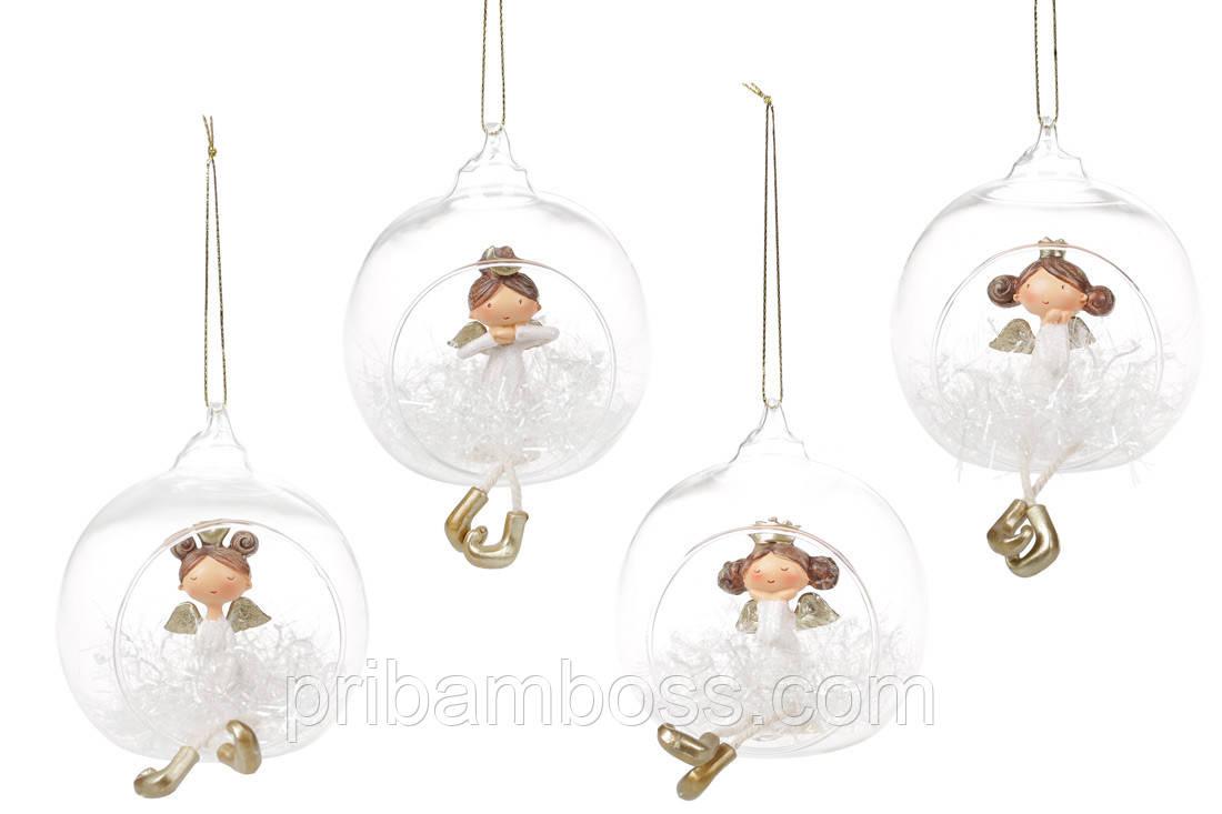 Подвесной декор Ангелочек в шаре, 10см,4 шт., цвет - белый