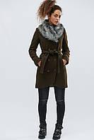 Шерстяное зимнее пальто с поясом женское хаки LS-8766-1