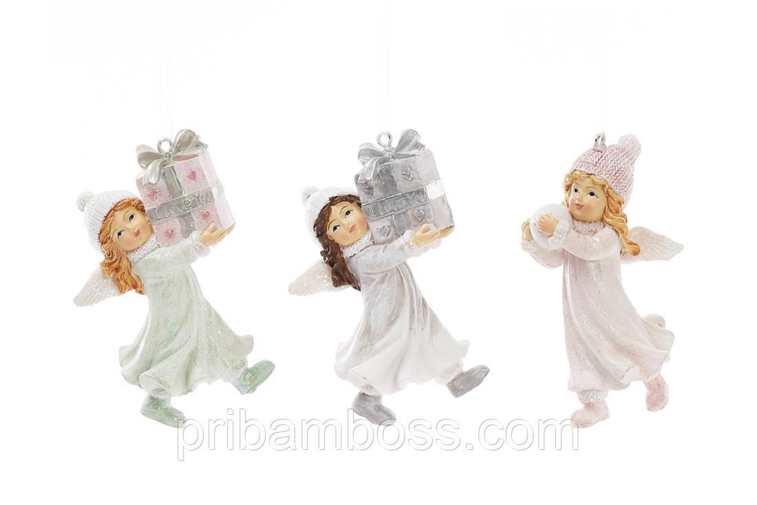 Декоративна статуетка-підвіска Дівчинка-ангел 8.5 см, 3 шт