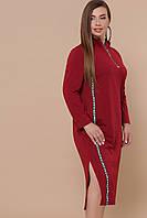 Бордовое платье для пышных женщин Джилл-Б д/р