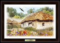 """Еко-картина """"Україна"""" """"Хата з вишневим цвітом"""""""