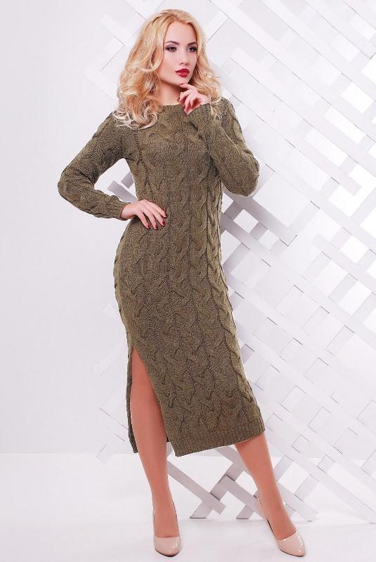 Платье длинное с разрезом цвета капучино