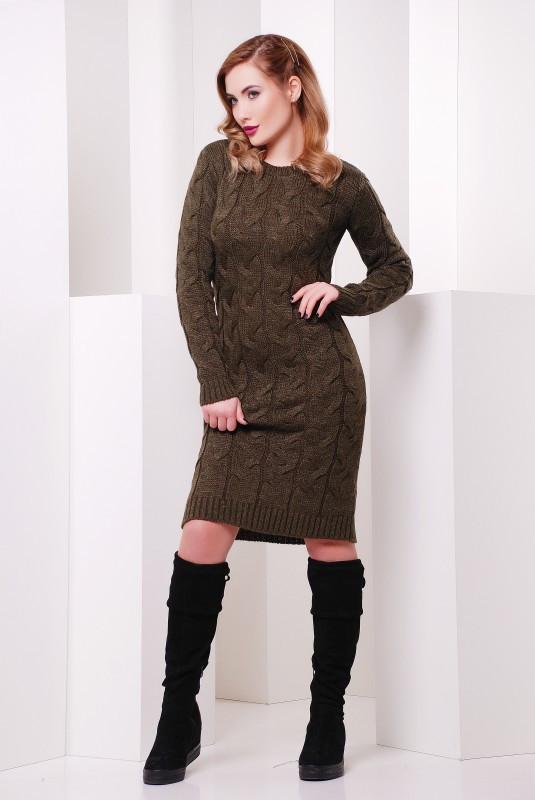 Платье короткое вязаное коричнево-зеленое