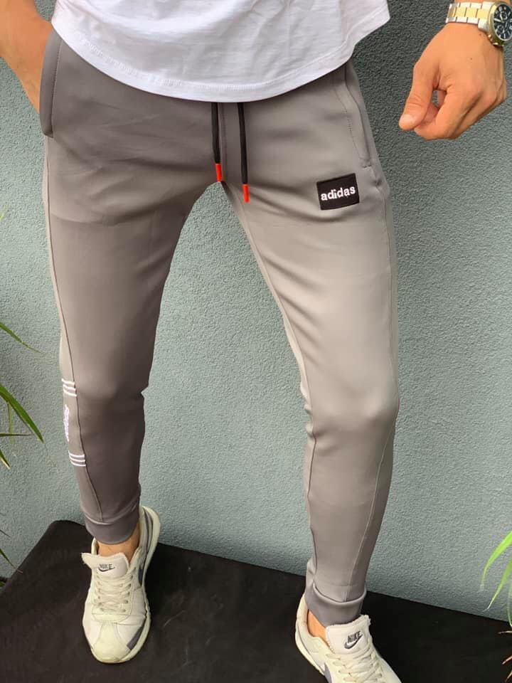 Мужские спортивные штаны на манжете Adidas серые. Живое фото