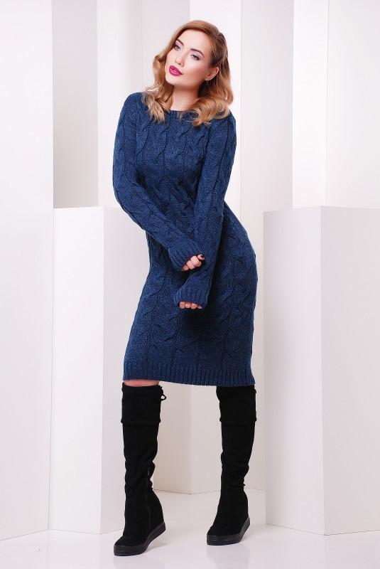 Платье короткое вязаное цвета джинс