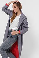 Пальто кашемировое женское стильное с красной подкладкой серое PL-8844-4