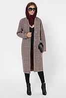 Пальто кашемировое женское стильное с красной подкладкой клетка PL-8844-10