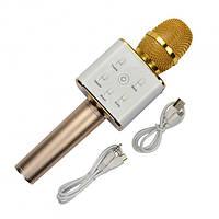 Беспроводной Bluetooth караоке микрофон-колонка в чехле Q7 Gold 15-ZOL-Q7, КОД: 691453