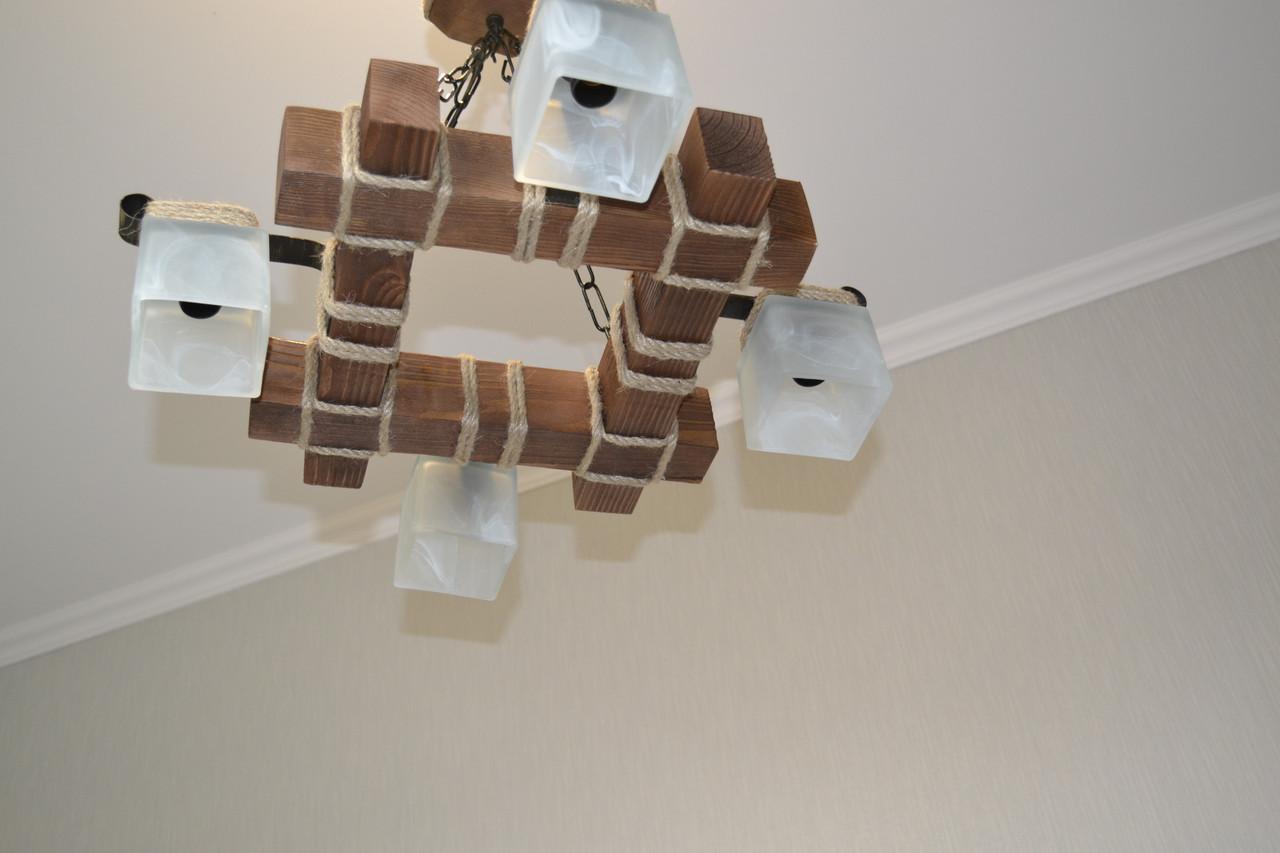 Люстра подвес из натурального дерева на 4 лампы. LL-S4