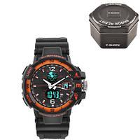 Часы мужские спортивные наручные C-SHOCK GWA-1100 Black-Orange, Box