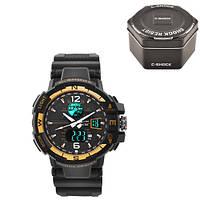 Часы мужские спортивные наручные C-SHOCK GWA-1100 Black-Gold, Box
