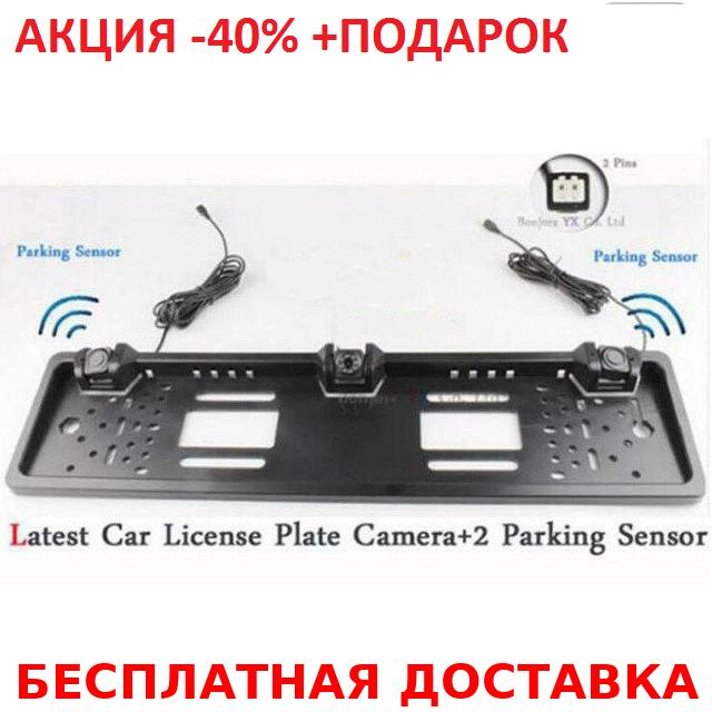 Универсальная рамка для номера с двумя датчиками парктроника Silver Original size, фото 1