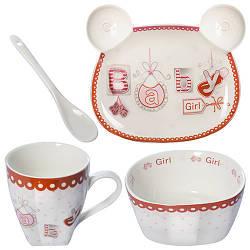 """Посуда детская """"Baby Girl 2"""" 4пр/наб (тарелка 16*13см,супница 12см,чашка 200мл,ложка) B26693 (18наб)"""