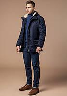 Парка мужская зимняя с капюшоном темно-синяя Braggart