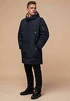 Парка мужская зимняя с капюшоном черно-синяя Braggart