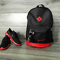 Рюкзак міський Nike (Найк) шкіряне дно, спортивний, молодіжний.Чорний з червоним вставками ., фото 1