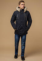 Парка мужская зимняя с опушкой черно-синяя Braggart