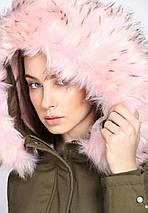Оригинальная Куртка Пуховик Женская Glo-Story WSX-7566 Military Зеленая Зима, фото 3