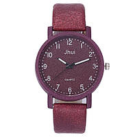 Женские модные часы Jhui  кожаный ремешок (Бордовые)