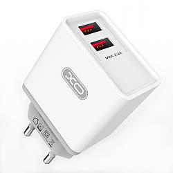 Зарядное устройство XO L31 2 USB 2.4A + кабель microUSB