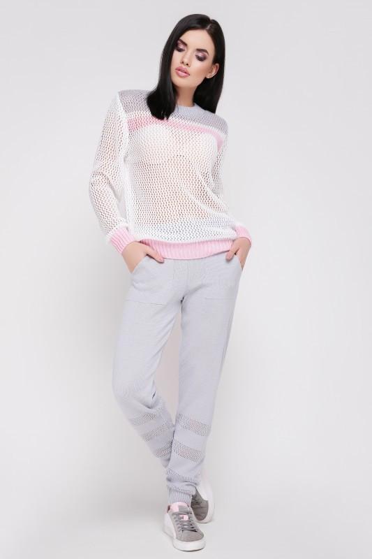"""Вязаный костюм """"TISSU"""" Светло-серый/Розовый"""