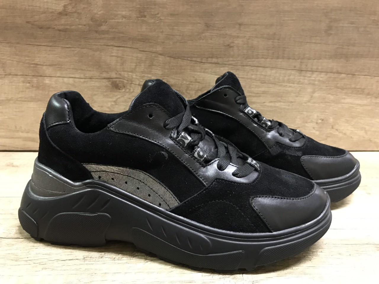 Черные женские кроссовки замша+ кожа 636/58 Anri de collo