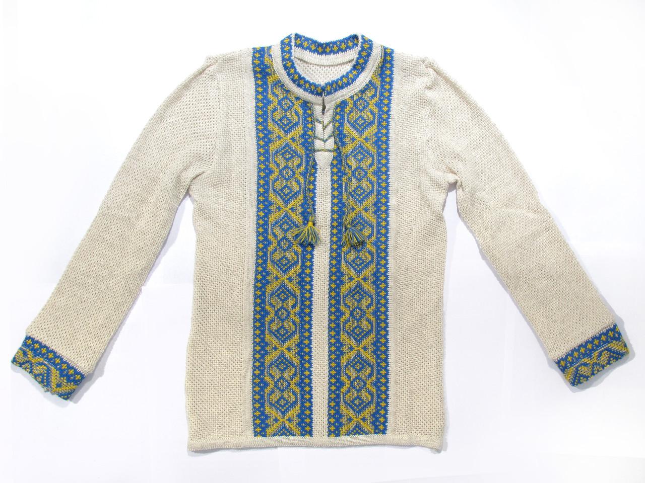 Вишиванка для хлопчика Хрестики жовто-блакитні